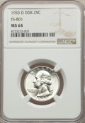 1953-D 25C Doubled Die Reverse, FS-801, MS64 NGC. NGC Census: (6/2). PCGS Population: (17/10). MS64. Mintage 56,112,400...