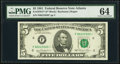 Fr. 1976-F* $5 1981 Federal Reserve Note. PMG Choice Uncirculated 64