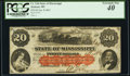 Jackson, MS- State of Mississippi $20 Jan. 8, 1862 Cr. 3Ab PCGS Extremely Fine 40