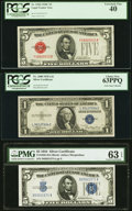 Small Size:Legal Tender Notes, Fr. 1528 $5 1928C Legal Tender Note. PCGS Extremely Fine 40.. Fr. 1650 $5 1934 Silver Certificate. PMG Choice Uncirculated... (Total: 3 notes)