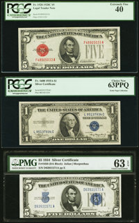 Fr. 1528 $5 1928C Legal Tender Note. PCGS Extremely Fine 40. Fr. 1650 $5 1934 Silver Certificate. PMG Choice Un
