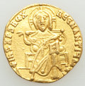 Ancients:Byzantine, Ancients: Basil I the Macedonian (AD 867-886), with Constantine. AV solidus (19mm, 4.35 gm, 6h). VF, scratches, clipped, slight bend....
