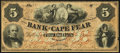 Obsoletes By State:North Carolina, Wilmington, NC- Bank of Cape Fear $5 circa 1858 g404 Very Fine.. ...