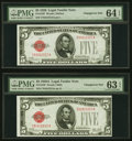 Changeover Pair Fr. 1525/1526 $5 1928/1928A Legal Tender Notes. PMG Choice Uncirculated 64 EPQ; Choice Uncirculated 63 E...