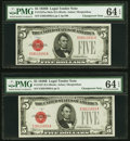 Small Size:Legal Tender Notes, Changeover Pair Fr. 1527/1527 $5 1928B Mule/1928B Legal Tender Notes. PMG Choice Uncirculated 64 EPQ.. ... (Total: 2 notes)