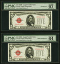 Small Size:Legal Tender Notes, Changeover Pair Fr. 1527/1528 $5 1928B/1928C Mule Legal Tender Notes. PMG Superb Gem Unc 67 EPQ; Choice Uncirculated 64 EPQ.... (Total: 2 notes)