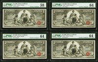 Courtesy D.N. Morgan Autographed Cut Sheet of Four Fr. 247 $2 1896 Silver Certificates PMG Choice Uncirculated 64 (3); C...