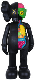 Sculpture, KAWS (b. 1974). 4 Foot Dissected Companion (Black), 2009. Painted cast vinyl. 48 x 24 x 15 inches (1...