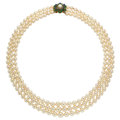 Estate Jewelry:Necklaces, Cultured Pearl, Emerald, Sapphire, Gold Necklace . ...