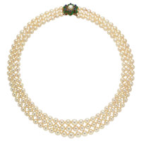 Cultured Pearl, Emerald, Sapphire, Gold Necklace