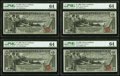 Large Size:Silver Certificates, Fr. 225 $1 1896 Silver Certificate PMG Choice Uncirculated 64 Cut Sheet of Four.. ... (Total: 4 notes)