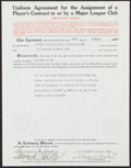 Autographs:Letters, 1940 Eddie Collins Signed Player's Contract....