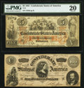 Confederate Notes:1861 Issues, T31 $5 1861 PF-1 Cr. 243 PMG Very Fine 20. T65 $100 1864 PF-2 Cr. 493 Very Fine.. ... (Total: 2 notes)