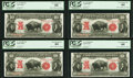 Large Size:Legal Tender Notes, Fr. 122 $10 1901 Legal Tender PCGS Very Choice New 64 Cut Sheet of Four.. ... (Total: 4 notes)