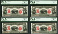 Fr. 122 $10 1901 Legal Tender PCGS Very Choice New 64 Cut Sheet of Four. ... (Total: 4)