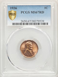 1936 1C MS67 Red PCGS. PCGS Population: (312/1). NGC Census: (693/1). CDN: $150 Whsle. Bid for NGC/PCGS MS67. Mintage 30...