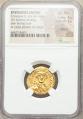 Ancients:Byzantine, Ancients: Constans II Pogonatus (AD 641-668). AV solidus (21mm, 4.45 gm, 6h). NGC Choice AU 4/5 - 3/5, clipped....