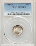 1946-S 10C MS67 Full Bands PCGS. PCGS Population: (227/16). NGC Census: (245/3). CDN: $100 Whsle. Bid for NGC/PCGS MS67...