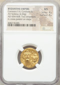 Ancients:Byzantine, Ancients: Constans II Pogonatus (AD 641-668), and Constantine IV. AV solidus (20mm, 4.50 gm, 7h). NGC MS 4/5 - 4/5....