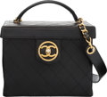 """Luxury Accessories:Bags, Chanel Black Leather Vanity Cosmetic Box Bag. Condition: 3. 9"""" Width x 7"""" Height x 5.5"""" Depth . ..."""