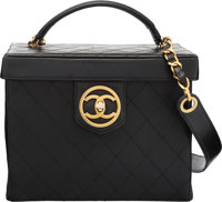 "Chanel Black Leather Vanity Cosmetic Box Bag Condition: 3 9"" Width x 7"" Height x 5.5"" Depth"