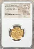 Ancients:Byzantine, Ancients: Heraclius (AD 610-641), with Heraclius Constantine and Heraclonas. AV solidus (22mm, 4.38 gm, 6h). NGC Choice XF 4/5 - 3/5, li...