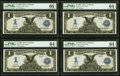 Large Size:Silver Certificates, Low Serial R13-16R Fr. 232 $1 1899 Silver Certificates Cut Sheet of Four. . ... (Total: 4 notes)