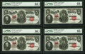 Large Size:Legal Tender Notes, Fr. 91 $5 1907 Legal Tenders Cut Sheet of Four. . ... (Total: 4 notes)