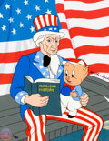 "Animation Art:Limited Edition Cel, ""Old Glory"" Porky Pig and Uncle Sam Signed Limited Edition Cel #20/39 (Warner Brothers, 2003)...."