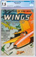 Golden Age (1938-1955):War, Wings Comics #30 (Fiction House, 1943) CGC VF- 7.5 Off-white to white pages....