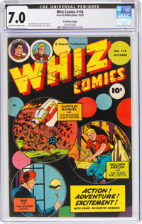 Whiz Comics #114 Crowley Copy Pedigree (Fawcett Publications, 1949) CGC FN/VF 7.0 Off-white to white pages