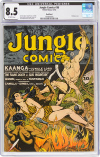 Jungle Comics #36 Rockford Pedigree (Fiction House, 1942) CGC VF+ 8.5 Off-white pages
