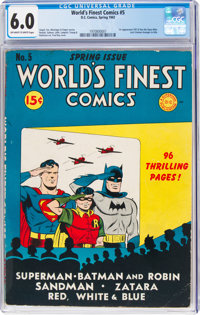 World's Finest Comics #5 (DC, 1942) CGC FN 6.0 Off-white to white pages