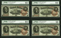 Large Size:Legal Tender Notes, Fr. 50 $2 1880 Legal Tender PMG Graded Cut Sheet of Four.. ... (Total: 4 notes)