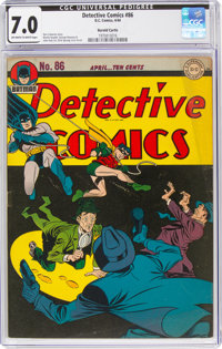 Detective Comics #86 Harold Curtis Pedigree (DC, 1944) CGC FN/VF 7.0 Off-white to white pages