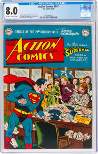 Action Comics #147 (DC, 1950) CGC VF 8.0 Off-white to white pages