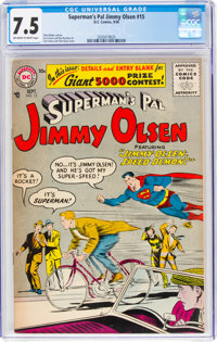 Superman's Pal Jimmy Olsen #15 (DC, 1956) CGC VF- 7.5 Off-white to white pages