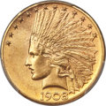 Indian Eagles, 1908-D $10 Motto MS64+ PCGS. CAC....