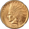 Indian Eagles, 1908-D $10 No Motto MS65+ NGC....