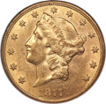 Liberty Double Eagles, 1877-CC $20 AU58 NGC. Variety 3-A....