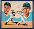 "Baseball Collectibles:Others, 1990's Joe DiMaggio (""Clipper"") & Ted Williams (""Thumper"") Signed Original Artwork by Jeon Wolff...."