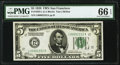 Double Quad 00002222 Serial Fr. 1950-L $5 1928 Federal Reserve Note. PMG Gem Uncirculated 66 EPQ