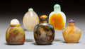 Carvings, A Group of Five Chinese Chalcedony Snuff Bottles. 2-7/8 inches (7.3 cm) (tallest). ... (Total: 5 Items)