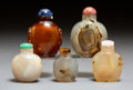 Carvings, A Group of Five Chinese Hardstone Snuff Bottles. 2-7/8 inches (7.3 cm) (tallest). ... (Total: 5 Items)