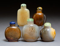 A Group of Five Chinese Hardstone Snuff Bottles 2-3/4 inches (7.0 cm) (tallest)