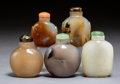 Carvings, A Group of Five Chinese Hardstone Snuff Bottles. 2-1/2 x 2-7/8 inches (6.4 x 7.3 cm) (tallest). ... (Total: 5 Items)
