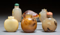 Carvings, A Group of Six Chinese Hardstone Snuff Bottles. 2-1/2 inches (6.4 cm) (tallest) . ... (Total: 6 Items)