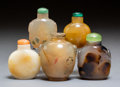 Carvings, A Group of Five Chinese Hardstone Snuff Bottles. 2-5/8 inches (6.7 cm) (tallest) . ... (Total: 5 Items)