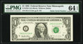 Super Radar 61111116 Fr. 1922-I $1 1995 Federal Reserve Note. PMG Choice Uncirculated 64 EPQ