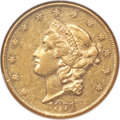 Liberty Double Eagles, 1871-CC $20 AU55 NGC. Variety 1-A....